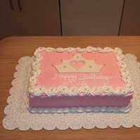 Pink Crown Cake Iced in BC with fondant crown cut out by hand.