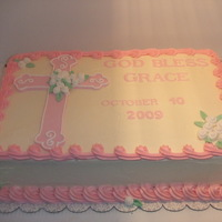 Baby Girl Christening Iced in BC, cross and flowers are fondant