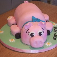 Pink Piggy Birthday fondant covered chocolate fudge cake done for a grandma who loves pigs!