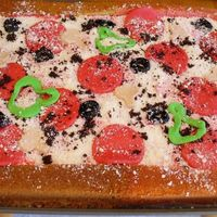 Pizza Half strawberry and half yellow cake. Strawberry puree with red colored icing. MMF toppings. The olives are MMF, but I used the red MMF and...