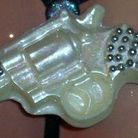 """diamond"" Gun   My version, white chocolate, silver dragee and DISCO DUST"