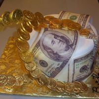 Money Cake   Saw some slot machine cakes and loved the way the coins flew around the cake..so...here is my version on a Birthday Money cake