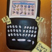Blackberry Phone And Sticky Pad  my cake cracked so I had the sticky notes placed on the crack on both sidse of the cake...also the heat of the room made the fondant bubble...