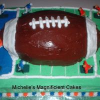 Football Cake This was made to celebrate my son's football season's conclusion. Used the 1st and 10 pan over a half sheet cake.