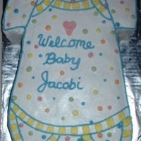 Onesie Cake A 12X18 sheet cake carved to shape and decorated in BC.