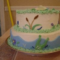 Pond Friends Baby Shower Cake Alt View