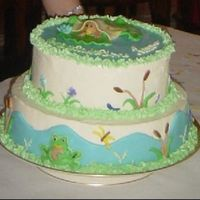 Pond Friends Baby Shower Cake This is the Baby Shower cake I made for my sister's shower this weekend. I designed it after the baby bedding. It is covered in...
