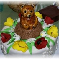 Groundhog Day Cake White cake with raspberry filling. Decorated with gumpaste flowers and covered in fondant. The groundhog is cake covered in fondant and...