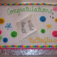 2008 Butterflies Preschool Graduation This is a full sheet cake. Half chocolate & half white with buttercream frosting. I wrote the children's names on a piece of MMF...