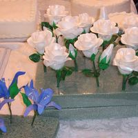 Roses And Lilies gumpaste roses, life=sized and blue sparkle lilies