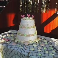 Sweet 16 Beach/tropical theme for sweet 16 party. Vanilla cake, chocolate mousse with fresh banana filling. Whipped cream buttercream icing with...