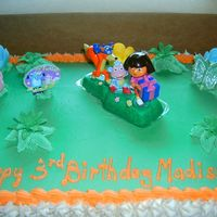 Madison's Dora Cake This is the Dora the Explorer cake I did for Madison's 3rd Birthday.