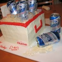 First Cooler Cake Made this cooler cake for my brother in laws birthday..He LOVED IT!! Next time I'll use rock candy instead of the gelatin. Need more...
