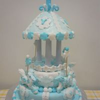 Carousel Cake was design for an one year old boy. The theme colour for the party is baby blue & white.All figurines were handmade/moulded.