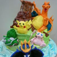 Pokemon My 1st Pokemon cake...its was huge & had to have two persons to carry it. All figurines were handmade/moulded.