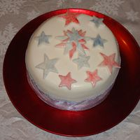 Round Star Cake fruit cake covered with fondant.