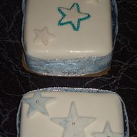 Blue Stars fruit cake covered with fondant.