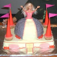 "Barbie In The Castle Third cake for my darling niece Raluca who turned 8 this week!She picked the colours and the flavours. The ""castle"" is lemon cake..."