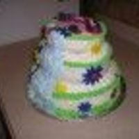 3479957547Ffp3583Evq3D3233.jpg  luau cake for two 14 yr old girls birthday. buttercream frosting base. Whipped cream icing waterfall. Fondant flowers. Chocolate seashells...