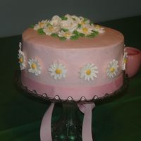 Heidi's 21St Birthday I did this for my sister's birthday. It is french vanilla cake with bc icing. Royal icing flowers. pink ribbon for bottom border.