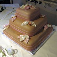 Square Wedding Cake With Ribbon & Leaves  This cake is actually more skin tone than chocolate looking-very low lighting at the reception-champagne luster dust added afterward....