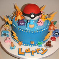 Pokemon  Buttercream covered cake. All figures and decorations were made from fondant. I made the pokeball hollow inside and filled it with...