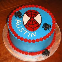 Spiderman   Buttercream cake with fondant decorations