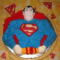 My Son's 5Th Birthday Cake My son loves Superman so I had this pan from my gradmother and made him his Superman cake.