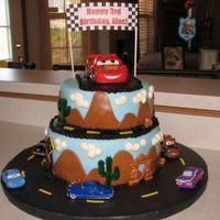 Alec's Cars Cake  Just want to start off by saying that this cake is NOT my original idea. I saw the Cars cakes by tripletmom and ChrisJ & loved them...