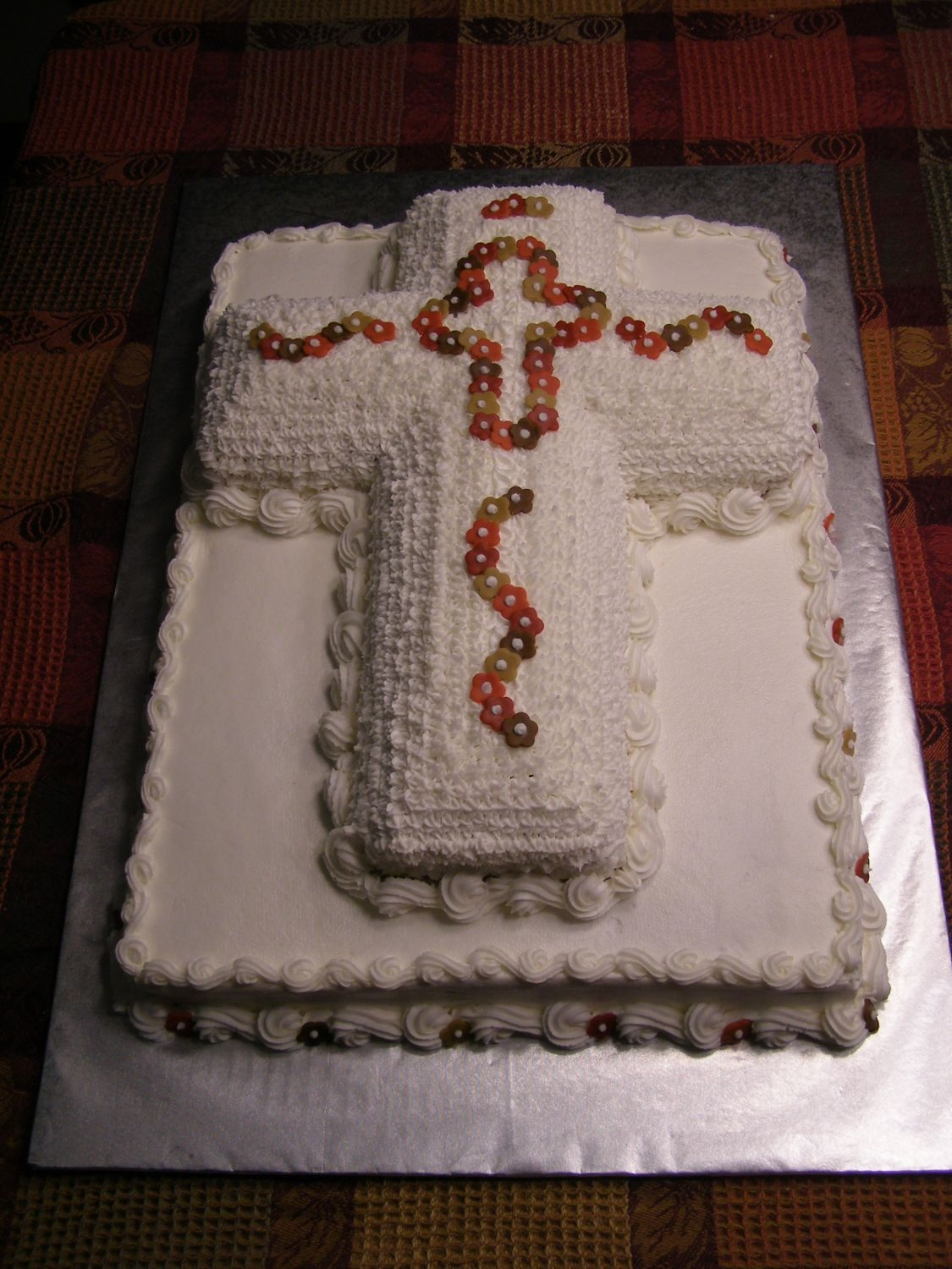 Baptism Cake  I made this cake for a friend's daughter's baptism. She requested that the cross be covered with a star tip & wanted fall...
