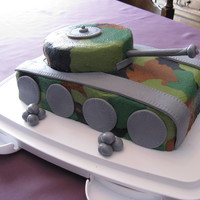 Tank Cake I made this for my dad who used to be in the army. Chocolate cake with buttercream icing in four different colours to make the camouflage...