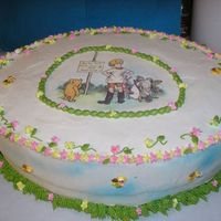 Classic Winnie The Pooh Baby Shower Cake Double layer, white cake with chocolate bavarian filling and buttercream frosting, for my daughter in law's shower. The picture is...