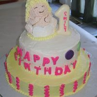 Baby's First B-Day This was for the child of a dear friend, made the day before we were moving 1200 miles away! 2 tiers were yellow, with the smash cake...