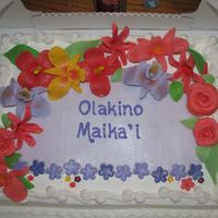Hawaiian Flowers Cake for local Relay for Life Survivor luncheon - 2nd year, but a much quicker version (without butterflies). This was done as a topper for...