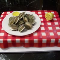 Steamed Clams! I was so excited to see the finished product...I had a blast making the shells, and then to clam inside... the dish of butter is RKT...