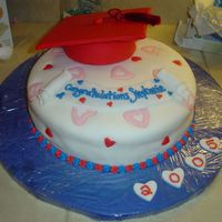 "Graduation Cap & Tassel Cake This was for a friend's daughter graduating from high school. 14"" roud base, and small bowl cake for hat. Fondant covered acrylic..."
