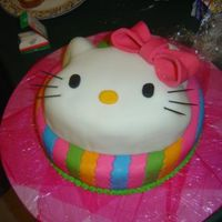 "Hello Kitty To Match Party Ware  Hello Kitty cake - bottom was a 14"" round. Top tier of cake (HK's head) was built supported by a custom cut acrylic plate. Made..."