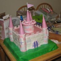 "Castle Cake  My biggest cake disaster ever...the turrets slouched over before the day was done. But, still cute. 14"" square base - 4 layers. Swiss..."