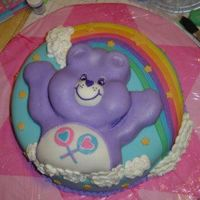 "Purple Care Bear Cake  I made this cake for a 2 year old's birthday. The bottom tier was a 2 layer 14"" round. The top tier was a single layer, with some..."