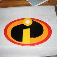 Incredibles Logo Topper   Topper made for a Costco cake. Incredibles logo made of fondant.