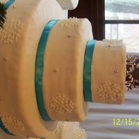 This Is My 2Nd Wedding Cake This is a close up of the 3 tier cake.