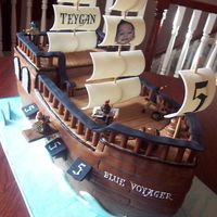 "Captain Teygan's Pirate Ship This was my first sculpted cake made for little ""pirate"" named Teygan. It remains one of my favorite cakes."
