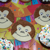 Curious George Cookies sugar cookie with faondant and royal icing accents