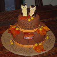 Owl Always Love You Chocolate b/c with gumpaste owls, leaves and acorns!