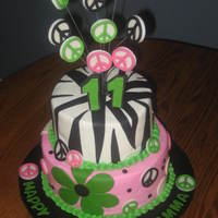 Zebra And Peace BC w/ fondant accents. Done for a girl who wanted zebra print and peace signs.