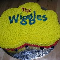 Wiggles Cake Sheet cake cut to look like the Wiggles logo. Covered in Buttercream icing and Wafer Paper used for writing.