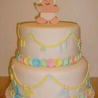 "Baby Shower Cake My 1st stacked cake :-)My tier is a 10"" round white cake with choc. pudding filling. Top is an 8"" round white cake with..."