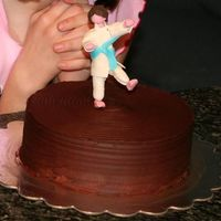 Karate Kid Cake  This cake is vanilla cake with whipped chocolate ganache filling and icing. My neice was taking her test for her blue belt in karate. The...