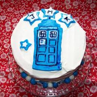 Tardis Cake Whipped cream frosting with fondant TARDIS, stars and balls. I just toothpicked in some Wilton color for the details. J.M.K. are birthday...
