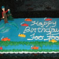 Happy B-Day Foofoo Birthday cake for a friend of my mom. Could not find the figurine with the man in the boat that I thought I would pick up when I made the...